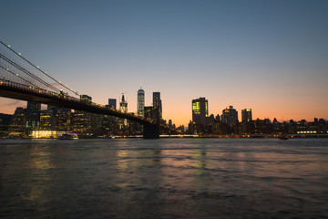 Brooklyn Bridge at Dusk, Looking Towards Manhattan