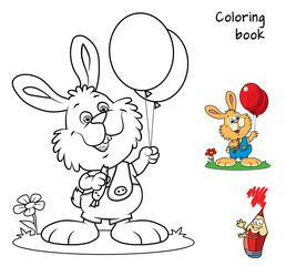 Cute little rabbit with carrot and red balloons. Coloring book. Cartoon vector illustration
