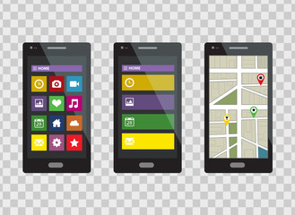 Smartphone set isolated on a transparent background. Vector illustration