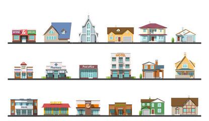 Flat design urban landscape vector illustration