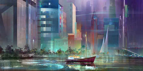 drawn fantasy landscape of the future city