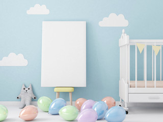 Poster blank mockup with colorful balloons on the floor 3d rendering