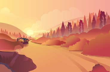 Mountain landscape with grass and huge lake. Wild nature at sunset. Vector illustration.