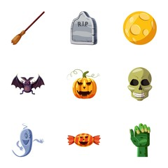 Halloween icons set, cartoon style
