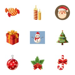 Xmas icons set, cartoon style
