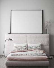 mock up poster frame in hipster bedromm interior background, scandinavian style, 3D render, 3D illustration