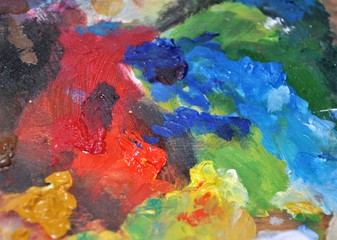 Colorful closeup painter's palette abstract creative texture background
