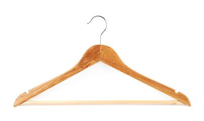 Single white wooden hanger isolated