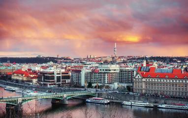 Beautiful Panoramic View of Prague Bridges on River Vltava