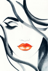 Photo Blinds Watercolor Face Woman face. Fashion illustration. Watercolor painting