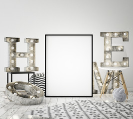 mock up poster frame in hipster interior background with light letters, scandinavian style, 3D render, 3D illustration
