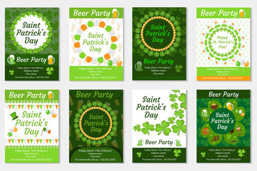 Collection of St. Patrick's Day invitation, poster, flyer. Beer Party set a template for your design with clover, shamrock. Vector illustration