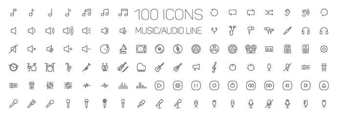 music, audio universal thin line 100 icons set on white background, sound, minimalistic, flat