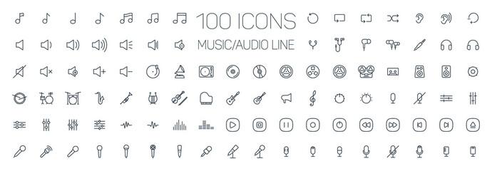 music, audio universal thin line 100 icons set on white background, sound, minimalistic, flat