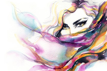 Deurstickers Aquarel Gezicht Woman face. Fashion illustration. Watercolor painting