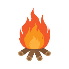 burning bonfire with wood, Vector Illustration