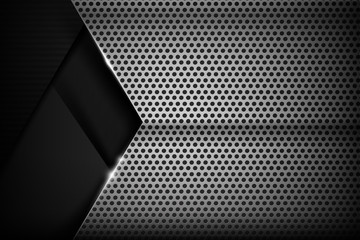 Chrome black and grey background texture vector illustration 016