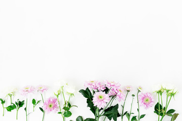 Floral pattern with pink flowers, green leaves, branches on white background. Flat lay, top view. Valentine's background