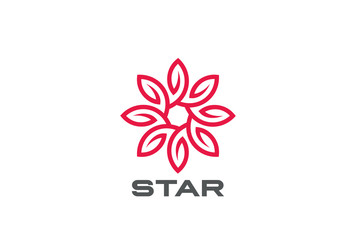 Star Flower Logo design loop. Luxury Jewelry Fashion Logotype