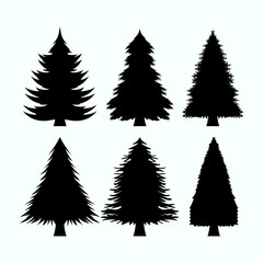 set of tree pine silhouette collections