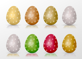 Easter realistic colorful eggs set with star fill and reflections. Vector illustration