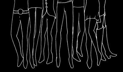 Crowd vector hand drawn illustration. Women and men legs contours