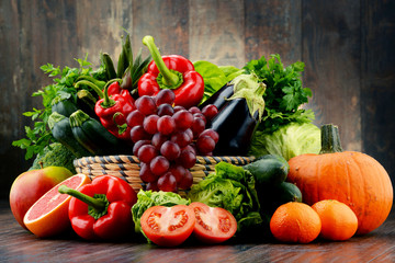 Composition with variety of fresh vegetables and fruits