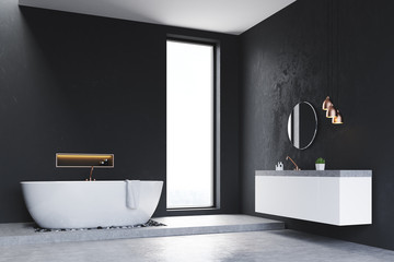 Corner of bathroom with window and sink