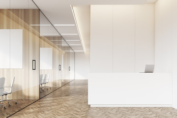 Company corridor with reception and glass