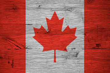 Canada national flag painted old oak wood