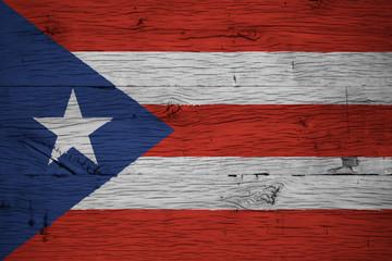 Puerto Rico national flag painted old oak wood