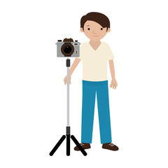 Man photographer with professional camera on tripod vector illustration