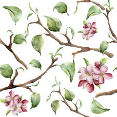 Watercolor pattern with tree branches and apple blossom. Hand painted spring ornament with floral elements with leaves isolated on white background. For design and fabric