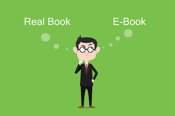 Comparing the benefits of real book vs ebook illustration with white bubble text