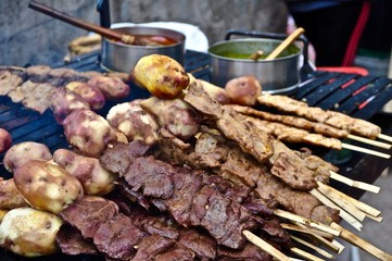 Peruvian grilled meat on a stick
