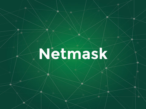 illustration white text on green background for netmask on networking