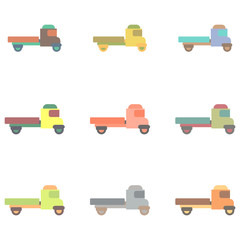 Retro Car Vector illustration in flat style old pickup truck collection