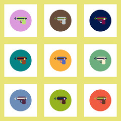 Collection of stylish vector icons in colorful circles water gun