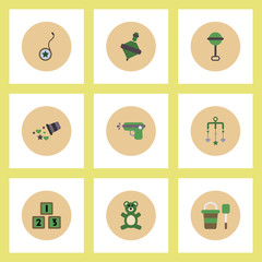 Collection of stylish vector icons in colorful circles baby toys set