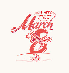 March 8 vector card with Eight. Template vector inscription.