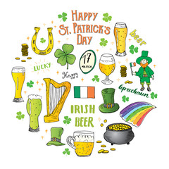 St Patricks Day hand drawn doodle set, with leprechaun, pot of gold coins, rainbow, beer, four leaf clover, horseshoe, celtic harp and flag of Ireland vector illustration isolated on white