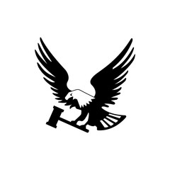 Eagle bird with hammer isolated on white backgroundicon. heraldic emblem of powerful wild falcon with stretching clutches. Symbol of eagle hawk predator for sport team mascot shield, company badge