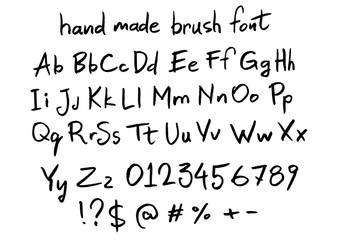 handmade brush vector font