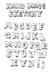 handmade sketchy vector font