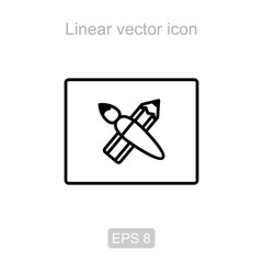 Pencil and brush. Linear vector icon.
