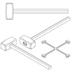 set tools isometric on a white background