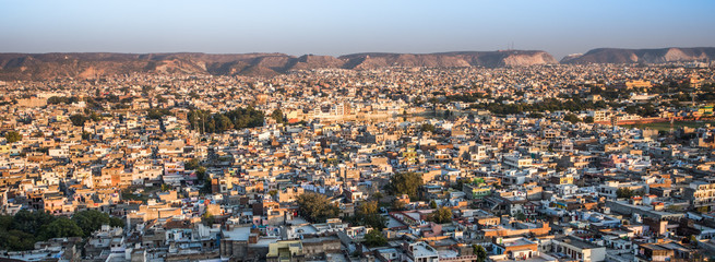 Jaipur bathed in golden light from the setting sun