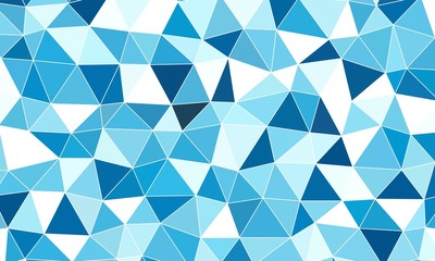 Abstract blue and white light random polygonal mosaic background
