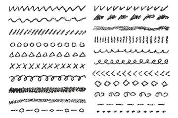 Wax crayon borders set. Vector illustration.