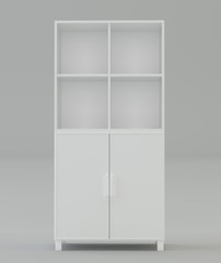 Office white cabinet on a gray background. 3d rendering